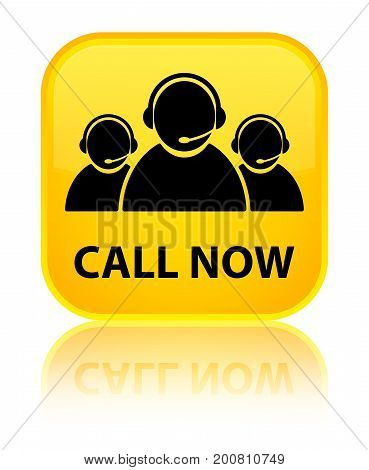 Call Now (customer Care Team Icon) Special Yellow Square Button