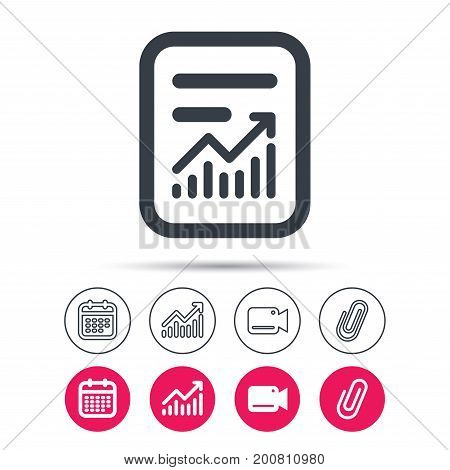 Report file icon. Document page with statistics symbol. Statistics chart, calendar and video camera signs. Attachment clip web icons. Vector