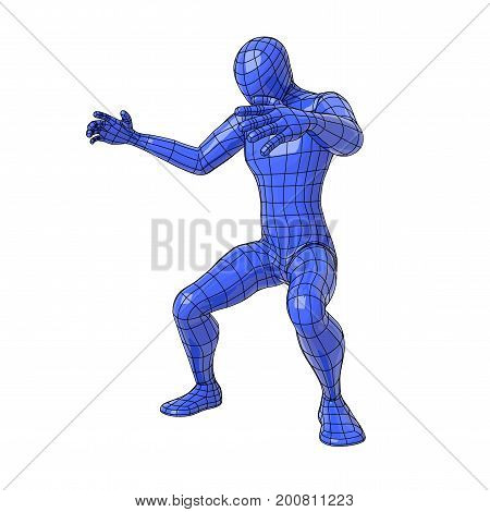 Wireframe Human Figure In Squatting Position With Open Arms And Looking Down Making A Maori Haka