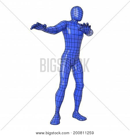 Wireframe Human Figure With Refusing Rejection Disgusting Or Fear Gesture