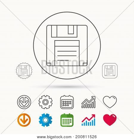 Floppy disk icon. Retro data storage sign. Calendar, Graph chart and Cogwheel signs. Download and Heart love linear web icons. Vector
