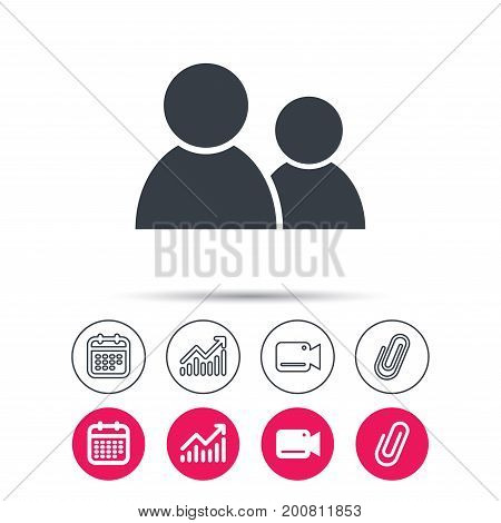 Friends icon. Group of people sign. Communication symbol. Statistics chart, calendar and video camera signs. Attachment clip web icons. Vector