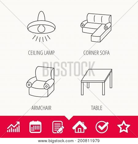 Corner sofa, table and armchair icons. Ceiling lamp linear signs. Edit document, Calendar and Graph chart signs. Star, Check and House web icons. Vector