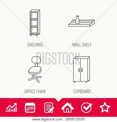 Office chair, cupboard and shelving icons. Wall shelf linear sign. Edit document, Calendar and Graph chart signs. Star, Check and House web icons. Vector