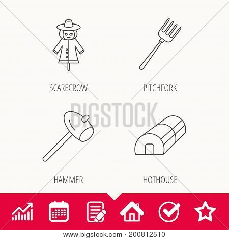 Hammer, hothouse and scarecrow icons. Pitchfork linear sign. Edit document, Calendar and Graph chart signs. Star, Check and House web icons. Vector