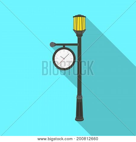 Lamppost with a clock.Lamppost single icon in flat style vector symbol stock illustration .