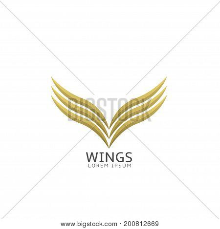 Golden wings label isolated over white background. Wings logo for business air company