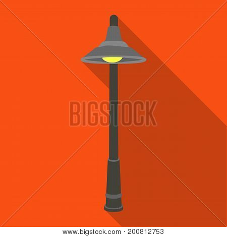 Lamppost with a conic bubble.Lamppost single icon in flat style vector symbol stock illustration .