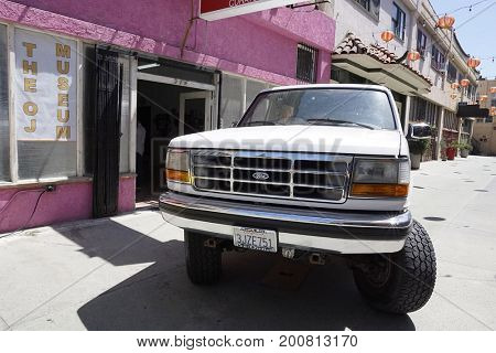 LOS ANGELES - AUG 17: Bronco, model which OJ Simpson drove at the OJ Simpson pop-up museum at the Coagula Curatorial Gallery on August 17, 2017 in Los Angeles, California