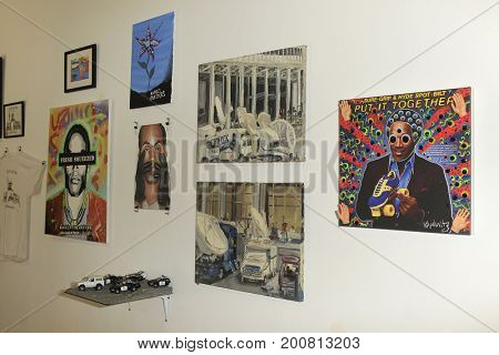 LOS ANGELES - AUG 17: OJ Simpson Art Work at the OJ Simpson pop-up museum at the Coagula Curatorial Gallery on August 17, 2017 in Los Angeles, California