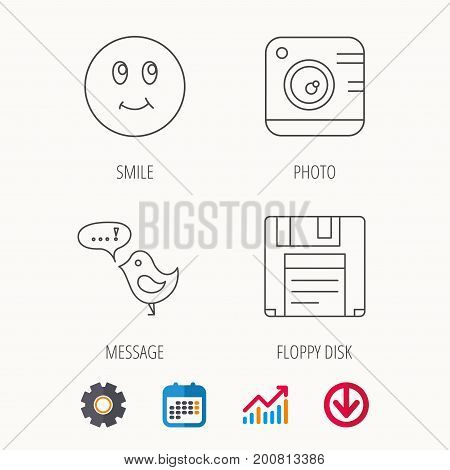 Photo camera, floppy disk and message icons. Smiling face linear sign. Calendar, Graph chart and Cogwheel signs. Download colored web icon. Vector
