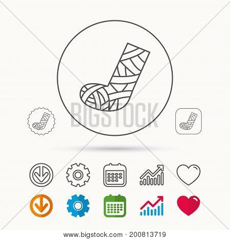 Gypsum or cast foot icon. Broken leg sign. Human recovery medicine symbol. Calendar, Graph chart and Cogwheel signs. Download and Heart love linear web icons. Vector