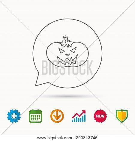 Halloween pumpkin icon. Scary smile sign. Calendar, Graph chart and Cogwheel signs. Download and Shield web icons. Vector