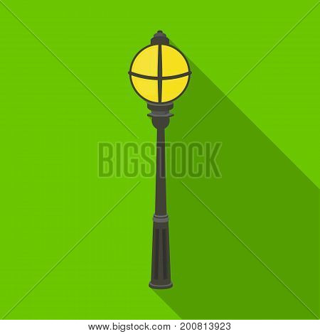 Street lights in retro style. Lamppost single icon in flat style vector symbol stock illustration .