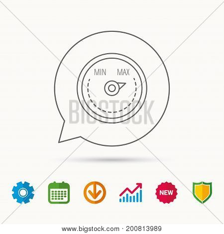 Heat regulator icon. Radiator thermometer sign. Calendar, Graph chart and Cogwheel signs. Download and Shield web icons. Vector