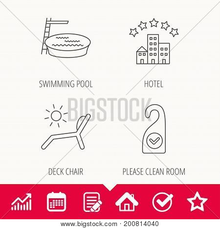 Hotel, swimming pool and beach deck chair icons. Clean room linear sign. Edit document, Calendar and Graph chart signs. Star, Check and House web icons. Vector