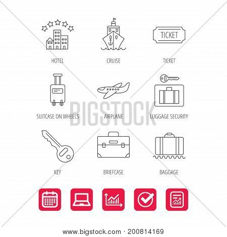 Hotel, cruise ship and airplane icons. Key, baggage and briefcase linear signs. Luggage security and ticket flat line icons. Report document, Graph chart and Calendar signs. Laptop and Check web icons
