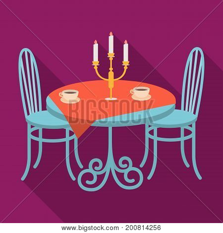 Served table in the restaurant. Furniture single icon in flat style Isometric vector symbol stock illustration .