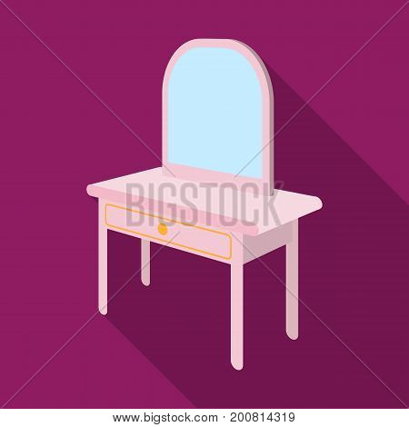 Dressing table with mirror. Furniture and interior single icon in flat style Isometric vector symbol stock illustration .