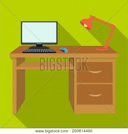 A desk with a computer and a desk lamp. Furniture and interior single icon in flat style Isometric vector symbol stock illustration .