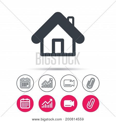Home icon. House building symbol. Real estate construction. Statistics chart, calendar and video camera signs. Attachment clip web icons. Vector
