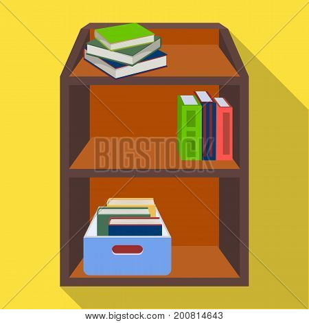 A rack with books and documents. Office furniture single icon in flat style Isometric vector symbol stock illustration .