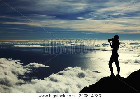 Photographer on Pico volcano, Pico Island, Azores, Portugal, Europe