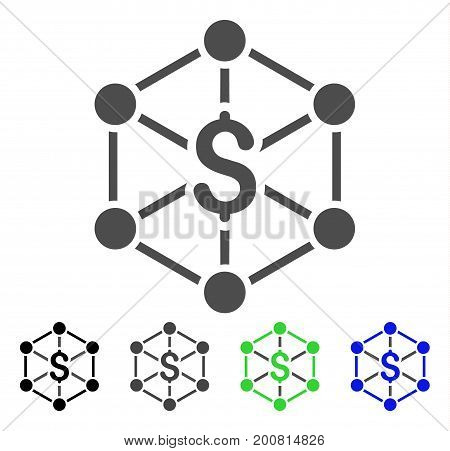 Bank Network flat vector pictogram. Colored bank network, gray, black, blue, green icon versions. Flat icon style for graphic design.