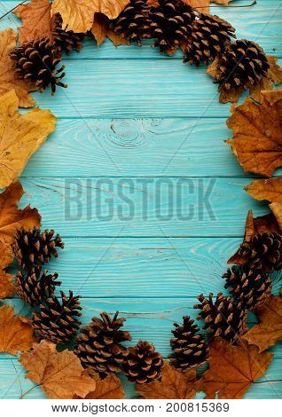 Flat lay frame of autumn leaves cones and nuts on a wooden background of azure color.