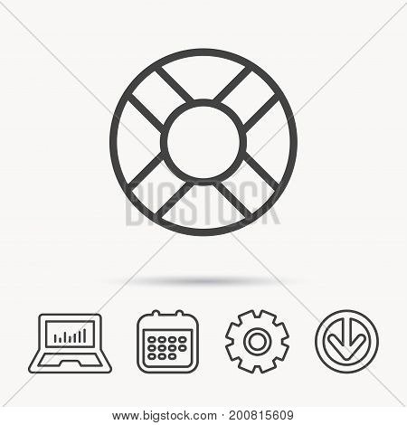 Lifebuoy icon. Lifebelt sos sign. Lifesaver help equipment symbol. Notebook, Calendar and Cogwheel signs. Download arrow web icon. Vector