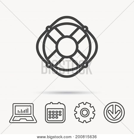 Lifebuoy with rope icon. Lifebelt sos sign. Lifesaver help equipment symbol. Notebook, Calendar and Cogwheel signs. Download arrow web icon. Vector