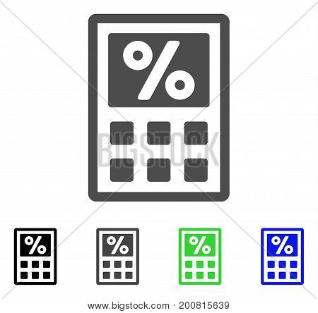 Tax Calculator flat vector pictogram. Colored tax calculator, gray, black, blue, green icon versions. Flat icon style for application design.