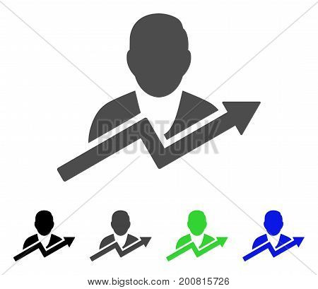 User Trend flat vector pictogram. Colored user trend, gray, black, blue, green icon variants. Flat icon style for graphic design.