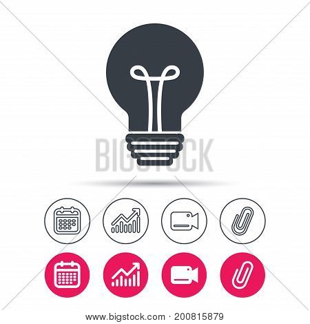 Light bulb icon. Lamp sign. Illumination technology symbol. Statistics chart, calendar and video camera signs. Attachment clip web icons. Vector