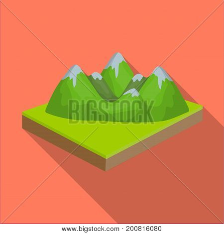 Mountains, rocks and landscape. Relief and mountains single icon in flat style isometric vector symbol stock illustration .