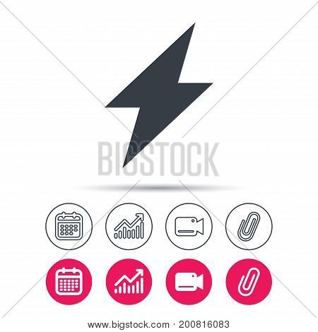 Lightning icon. Electricity energy power symbol. Statistics chart, calendar and video camera signs. Attachment clip web icons. Vector