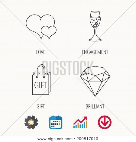 Love heart, gift box and wedding ring icons. Brilliant and engagement linear signs. Calendar, Graph chart and Cogwheel signs. Download colored web icon. Vector