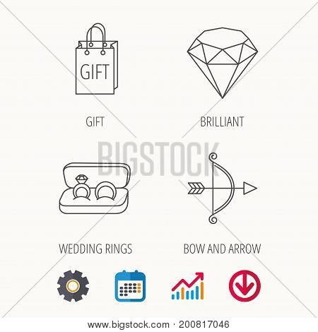 Brilliant, gift and wedding rings icons. Bow and arrow linear signs. Calendar, Graph chart and Cogwheel signs. Download colored web icon. Vector