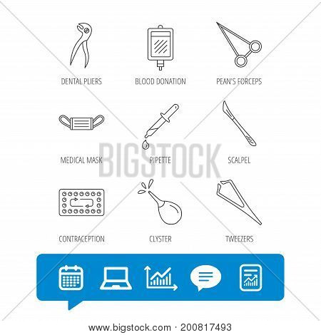 Medical mask, blood and dental pliers icons. Contraception, scalpel and clyster linear signs. Tweezers, pipette and forceps flat line icons. Report file, Graph chart and Chat speech bubble signs