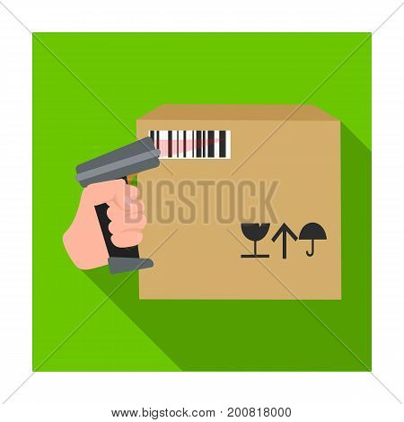 Scan the bar code on the box. Logistics and delivery single icon in flat style isometric vector symbol stock illustration .