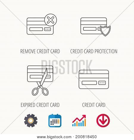 Bank credit card icons. Banking, protection and expired debit card linear signs. Calendar, Graph chart and Cogwheel signs. Download colored web icon. Vector