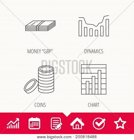 Cash money and dynamics chart icons. Coins linear sign. Edit document, Calendar and Graph chart signs. Star, Check and House web icons. Vector