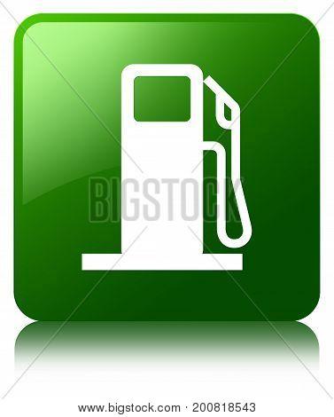 Fuel Dispenser Icon Green Square Button