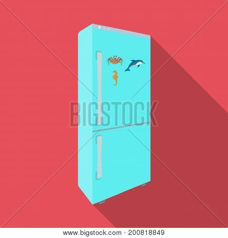 Refrigerator, single icon in flat style.Refrigerator vector symbol stock illustration .