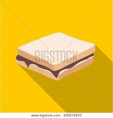 Tasty food, a sandwich with chocolate.Food single icon in flat style vector symbol stock illustration .