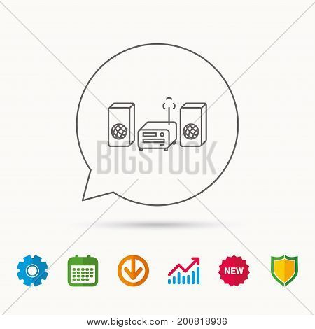 Music center icon. Stereo system sign. Calendar, Graph chart and Cogwheel signs. Download and Shield web icons. Vector