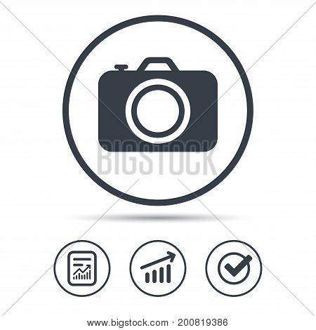 Camera icon. Professional photocamera symbol. Report document, Graph chart and Check signs. Circle web buttons. Vector
