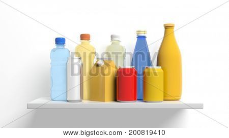Group of beverages packages on white background. 3d illustration