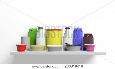 Group of dairy products packages on white background. 3d illustration