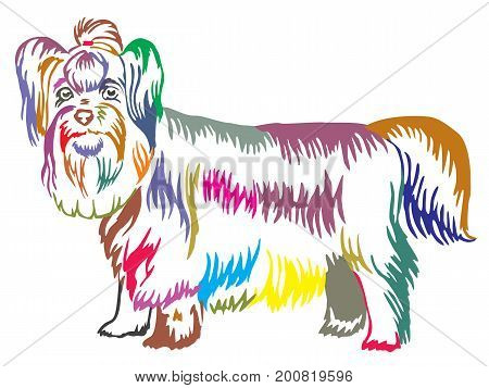 Colorful decorative portrait of standing in profile dog Yorkshire Terrier vector isolated illustration on white background